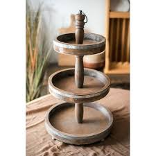 rustic wood three tier stand 3