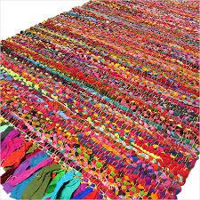 colorful rugs. Bright Colorful Decorative Chindi Bohemian Boho Rag Rug - 2 X 3 Ft, 5 Ft Rugs