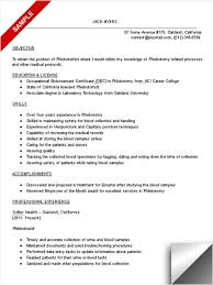Phlebotomist Resume Examples Cool Phlebotomy Resume Phlebotomist Resume Sample Jack Free Phlebotomy