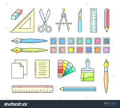 office drawing tools. Vector Icons Of Art And Office Supplies Drawing Painting Tools For Workshop 2010