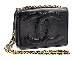 black chanel leather bag with leather logo