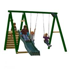swing n slide playsets pine bluff wood complete playset with slide