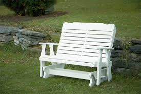 outdoor glider bench white