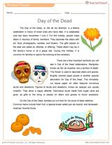 day of the dead reading passage vocabulary printable grades  day of the dead reading passage vocabulary printable grades 6 10