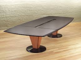 vector stone top conference table cherry with honed black granite a center wiring trough