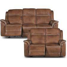 Pacific Oak Brown Leather-Match Power Reclining Sofa & Loveseat | RC Willey  Furniture Store
