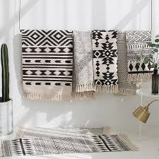 kilim black white 100 cotton living room carpet geometric indian rug stripe modern mat contemporary design bohemia nordic style d19010902 carpet estimate