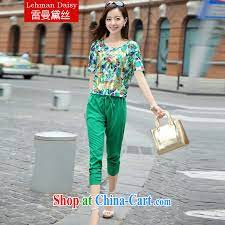 Lehman Daisy and indeed XL girls thick mm summer short-sleeve T-shirt 200  Jack thick sister snow woven shirts Korean version 7 pants leisure package  YG 0908 green package XXXXL