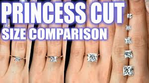 Engagement Ring Diamond Size Chart Princess Cut Diamond Size Comparison On Hand Finger 1 Carat Square Engagement Ring 2 Ct 3 4 5 75