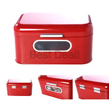 details about bread box for kitchen counter red bread bin retro storage container with f
