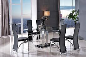 fixed glass channel dining set combined with six ivory fabric washington dining chairs perfect for
