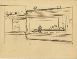 study for nighthawks by edward hopper 1941 or 1942 fabricated chalk on