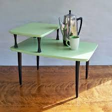 mid century modern 2 tiered end table side table melon green 3 tier side table
