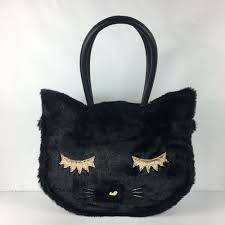 details about luv betsey johnson black faux fur kitty cat shoulder bag toter nwt 78
