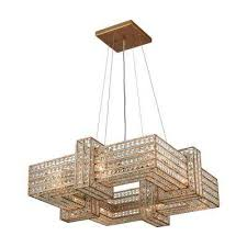 lexicon 8 light square matte gold with clear crystal chandelier