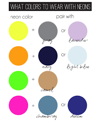 I saw this useful chart on Pinterest and I think it can help many of you  who can't seem to find the right colors to wear with neon.
