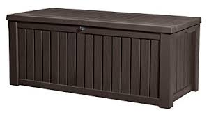 deck storage container. Keter Rockwood Plastic Deck Storage Container Box Outdoor Patio Garden Furniture 150 Gal Brown Throughout