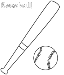 Small Picture Baseball and Bat Coloring Page Sports