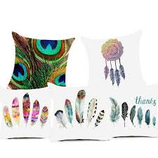 Decorative Pillows With Feather Design Stunning Colorful Feacher Polyester Cushion Cover Dreamcatcher Pillow Case