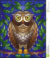 marvelous stained glass ilration with fabulous colourful owl sitting on a stained glass owl patterns
