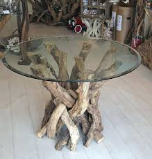 driftwood table base natural round driftwood dining table base by miller driftwood designs driftwood base glass top coffee table