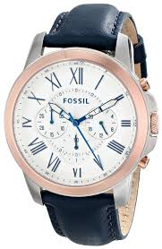 amazon com fossil men s fs4930 grant chronograph stainless steel amazon com fossil men s fs4930 grant chronograph stainless steel watch dark blue leather band fossil watches