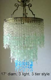 sea glass chandelier modern lighting fixture coastal decor blue ombre intended for 5