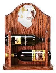 clumber spaniel dog wood wine rack bottle holder figure lemon