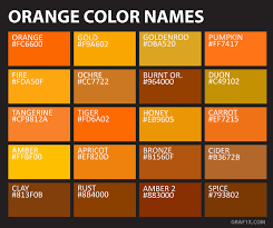 Shades Of Orange Color Chart List Of Colors With Color Names Graf1x Com