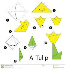 How To Make A Flower Out Of Paper Step By Step Step By Step Instructions How To Make Origami Tulip Stock