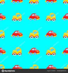 Naadloze Patroon Van Gele En Rode Speelgoed Auto S Stockvector