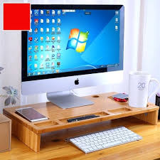computer screen stand for desk bamboo monitor stand riser with storage organizer laptop cellphone printer stand desktop container desktop computer monitor