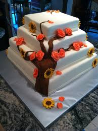 Coral Roses Sunflower Wedding Cake Cakecentralcom