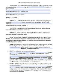 Lease Agreement Format Free Wisconsin Standard Residential Lease Agreement Pdf