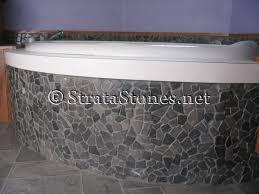 grey mosaic tile bath tub