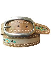 zoomed image roper women s aztec print fabric inlay distressed leather belt lt brown hi res