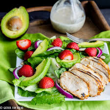 grilled chicken salad with strawberries.  Grilled With Grilled Chicken Salad Strawberries