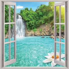 Small Picture Waterfall 3D Window View Removable Wall Art Sticker Vinyl Decal