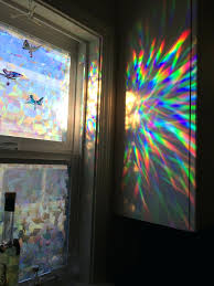 window film stained glass cling decorative window film holographic  prismatic etched decorative window film holographic prismatic