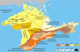 Рельеф Крыма Крымология Мегантиклинорий горного Крыма 1 большие антиклинории 2 крупные синклинории 3 северное и восточное погружение мегантиклинория