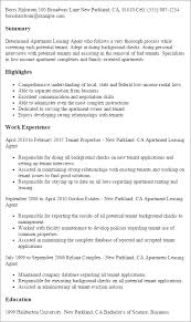 Sample Resume For Leasing Consultant Apartment Leasing Agent Resume Template Best Design Tips