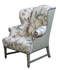 wingback chair. Comfortable Wingback Chair Designs For Living Room Furniture : Vintage White And Grey Caper Elliott With Soft Fabric Materials Cover
