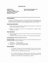 Resume Career Objective Examples Mba Finance Fresher Resume Format New Resume Career Objective 4