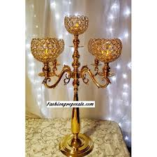 2 wedding gold crystal globe candelabra 5 arms with dripping prism set of 2 29 inches