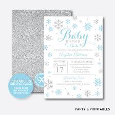 Snowflake Baby Shower Invitations Snowflake Baby Shower Invitation Editable Instant Download Gbs