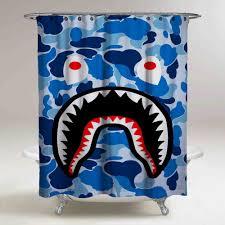 best blue bape shark custom shower curtain high quality in home garden bath shower curtain hooks