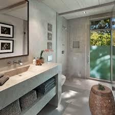 bathroom huge contemporary master porcelain floor bathroom idea in santa barbara with open cabinets
