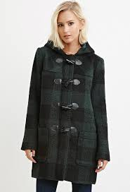 forever 21 toggle front plaid coat in black green