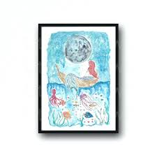 little mermaid wall decor little mermaid under the starry night watercolor painting print watercolour wall decor little mermaid wall decor