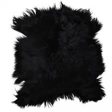 extra large premium quality mongolian goat skin rug in black
